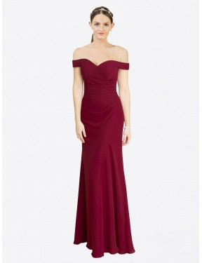 Burgundy Mermaid Fit and Flare Off the Shoulder Floor Length Sleeveless Chiffon Bridesmaid Dresses Melbourne
