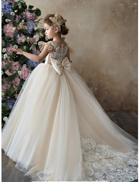 Champagne Ball Gown Sweetheart Chapel Train Sleeveless Lace & Tulle Flower Girl Dresses Melbourne