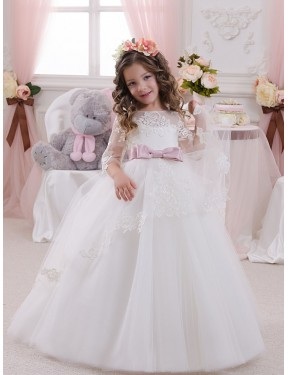 Ivory Ball Gown Bateau Chapel Train Sleeveless Lace & Tulle Flower Girl Dresses Melbourne