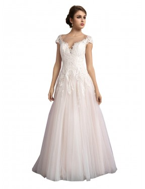 Ivory & Champagne A-Line Illusion Cathedral Train Cap Sleeves Tulle Wedding Dresses Melbourne