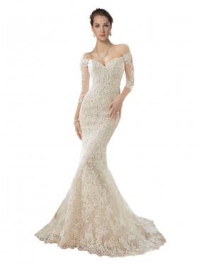 Ivory & Champagne Mermaid Off the Shoulder Chapel Train Long Sleeves Lace & Tulle Wedding Dresses Melbourne